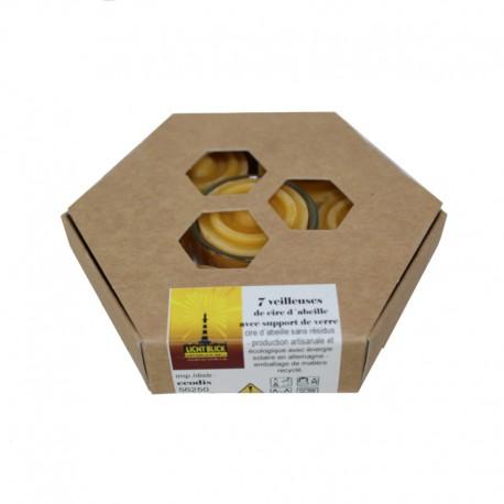 Bougies 100% cire d'abeille - Boîte de 7 veilleuses