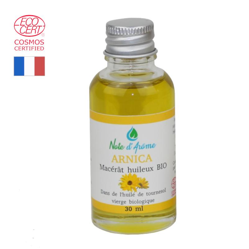 Macérât biologique d'Arnica montana dans de l'huile de tournesol vierge biologique Note d'Arôme